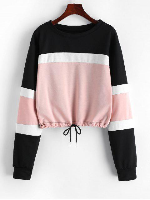 fancy Color-blocking Drawstring Hem Sweatshirt - PINK S Mobile