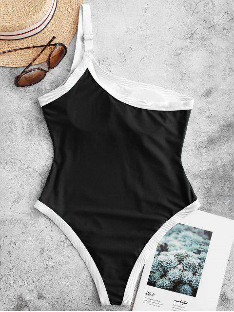 women ZAFUL Ribbed Trim One Shoulder One-piece Swimsuit - BLACK M Mobile