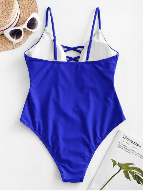 ZAFUL卡米十字交叉露背連體泳衣 - 鈷藍色 XL Mobile