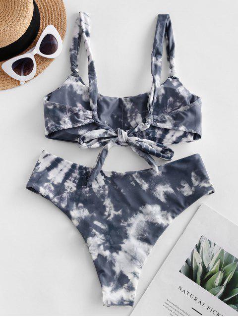 latest ZAFUL Tie Dye High Leg Scoop Neck Bikini Swimsuit - MULTI-A M Mobile
