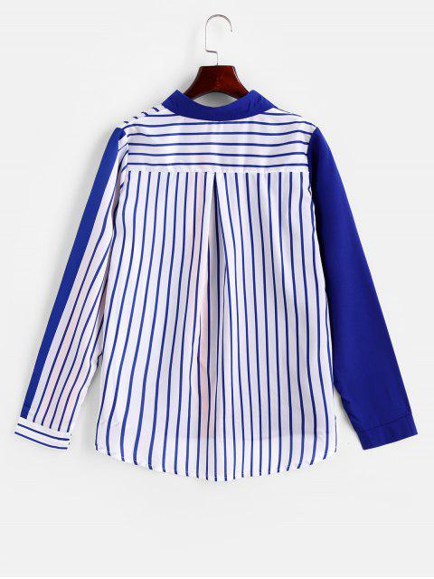 new Contrast Striped Button Up Curved Shirt - BLUE L Mobile