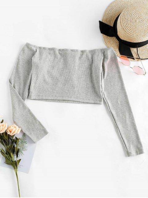 affordable ZAFUL Snap Button Off Shoulder Cropped Knitwear - PLATINUM S Mobile