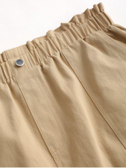ZAFUL Falda de Pana con Botones de Color Sólido - Tan M Mobile