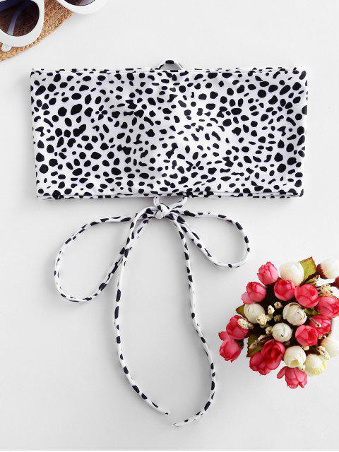 outfit ZAFUL Animal Print Lace-up Bandeau Bikini Top - WHITE L Mobile