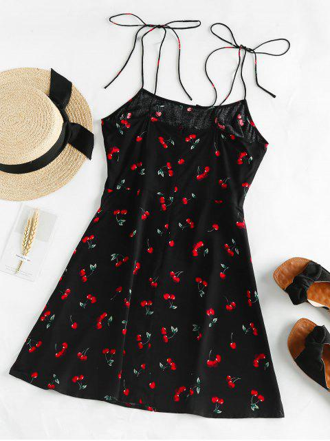 ZAFUL Mini Vestido con HombroDescubierto con Lazoy Estampado de Cereza - Negro S Mobile