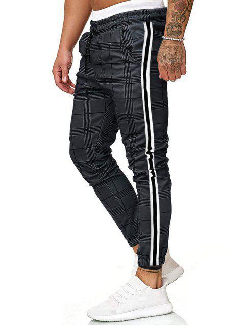 格子圖案印刷反差條紋抽繩短褲慢跑者 - 灰色 M Mobile