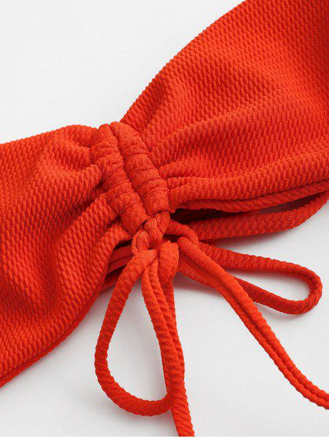 affordable ZAFUL Textured Cinched Bralette Bikini Swimsuit - BRIGHT ORANGE M Mobile