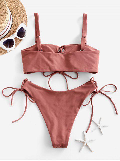 hot ZAFUL High Leg Lace Up Tank Bikini Swimsuit - CHESTNUT S Mobile