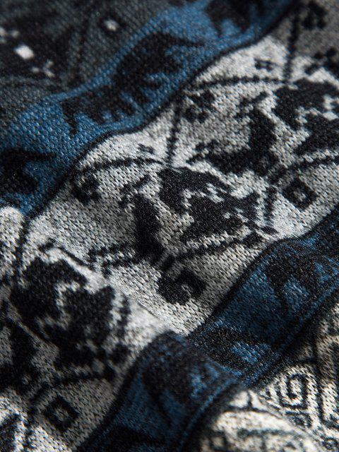 Sweat à Capuche Tribal Imprimé avec Poche Kangourou - Cadetblue S Mobile