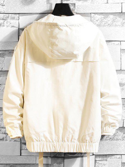 Veste à Capuche en Couleur Unie Décorée de Poche - Blanc 2XL Mobile