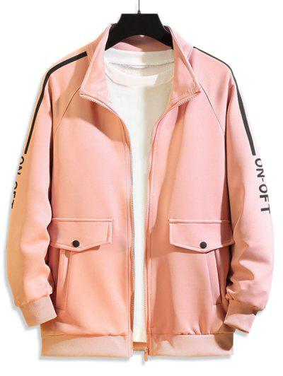 Pocket Design Letter Printed Zipper Jacket - Rose L