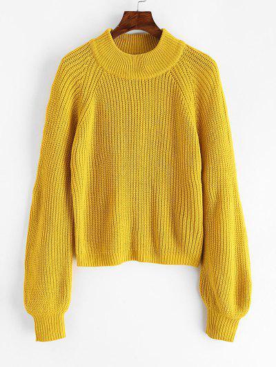 ZAFUL Plain Mock Neck Raglan Sleeve Jumper Sweater - Golden Brown