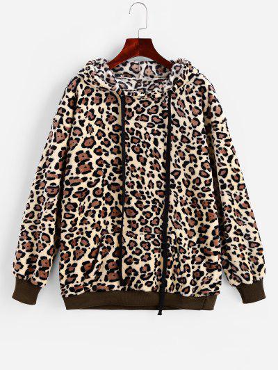 Drawstring Leopard Front Pocket Fluffy Hoodie - Leopard S