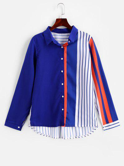 Contrast Striped Button Up Curved Shirt - Blue L