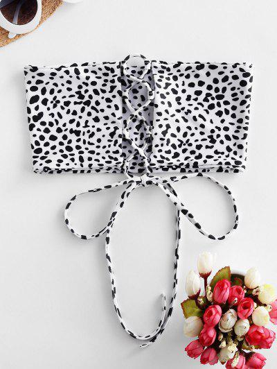 ZAFUL Animal Print Lace-up Bandeau Bikini Top - White L