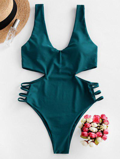 ZAFUL Plunging Cut Out Lattice One-piece Swimsuit - Peacock Blue L