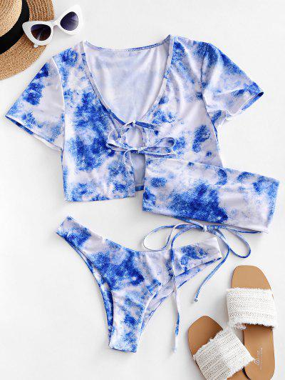 ZAFUL Lace Up Tie Dye Bikini Swimsuit With Cover Up Top - Multi-a S