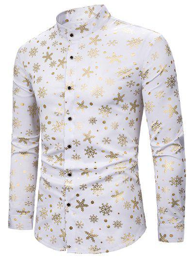 Camisa De Manga Larga Con Estampado Dorado De Copo De Nieve - Blanco Xl