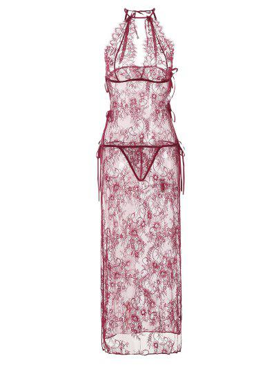Lace Keyhole See Thru Slit Long Lingerie Set - Red Wine M