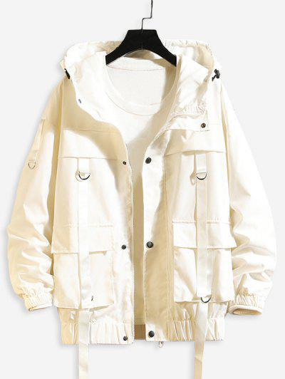 Solid Color Pocket Decorated Hooded Jacket - White 3xl