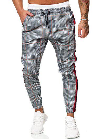 Drawstring Houndstooth Print Contrast Striped Jogger Pants - Light Gray L