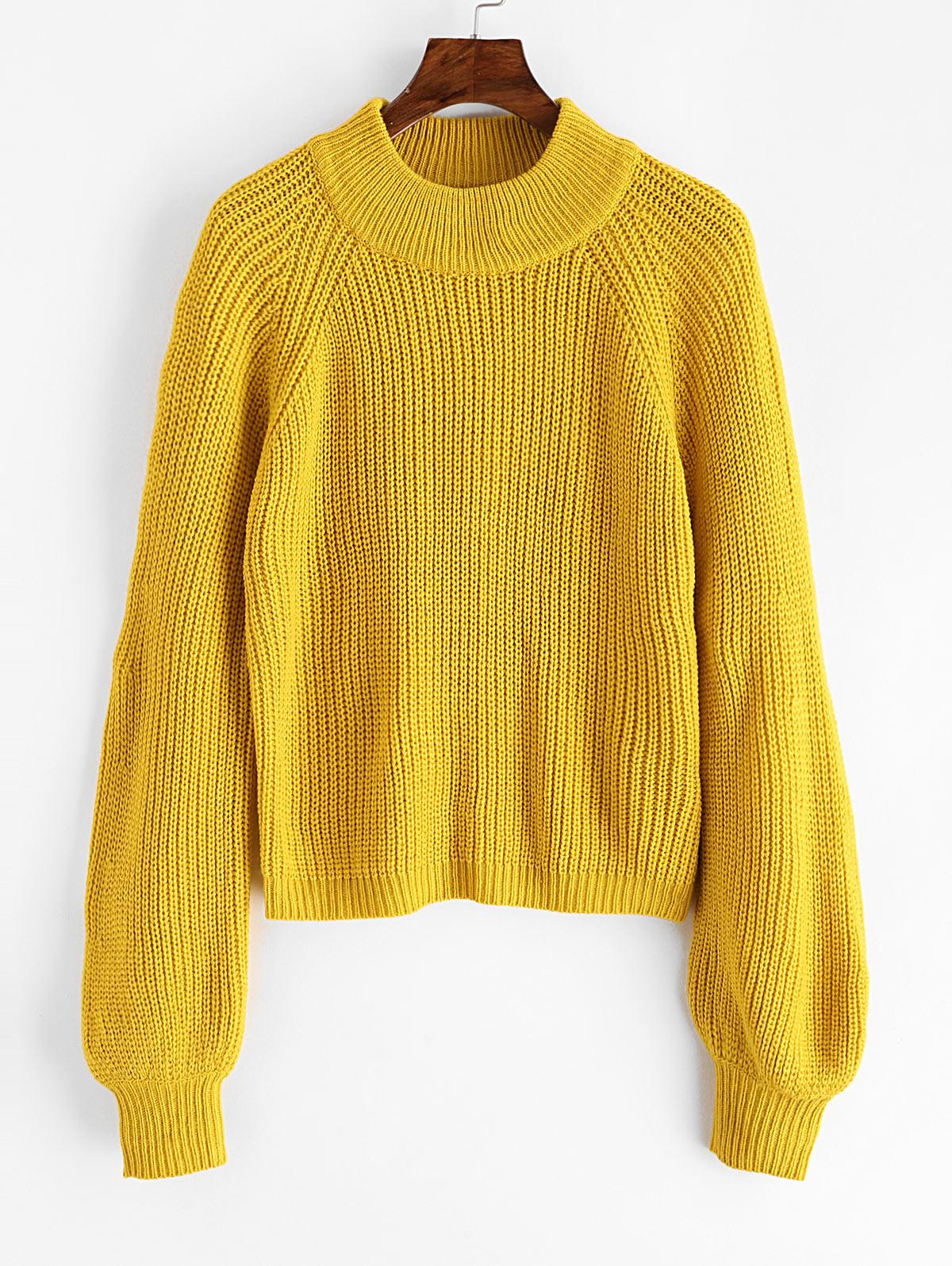 ZAFUL Plain Mock Neck Raglan Sleeve Jumper Sweater