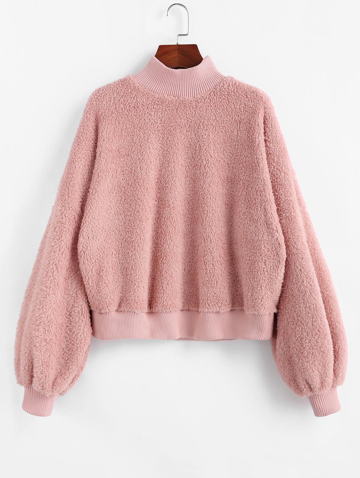 ZAFUL Mock Neck Drop Shoulder Fluffy Sweatshirt