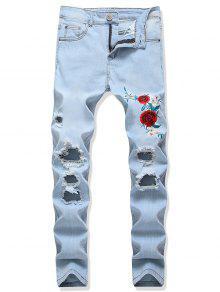 ممزق زهرة التطريز طويل سروال جينز - جينز ازرق 32