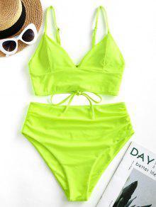 ZAFUL النيون ربط الحذاء حتى ارتفاع مخصر Tankini ملابس السباحة - أخضر مصفر L
