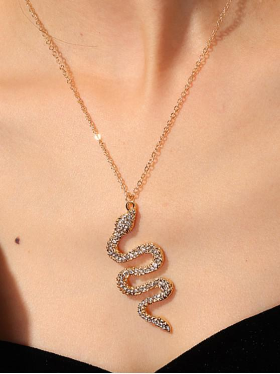 outfits Rhinestone Snake Pendant Chain Necklace - GOLD