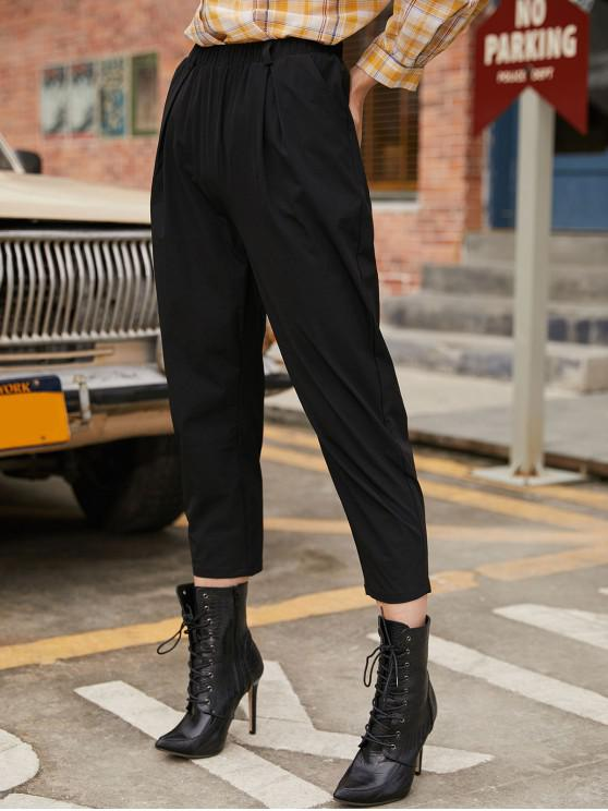 hot Pocket High Waisted Belted Pants - BLACK M