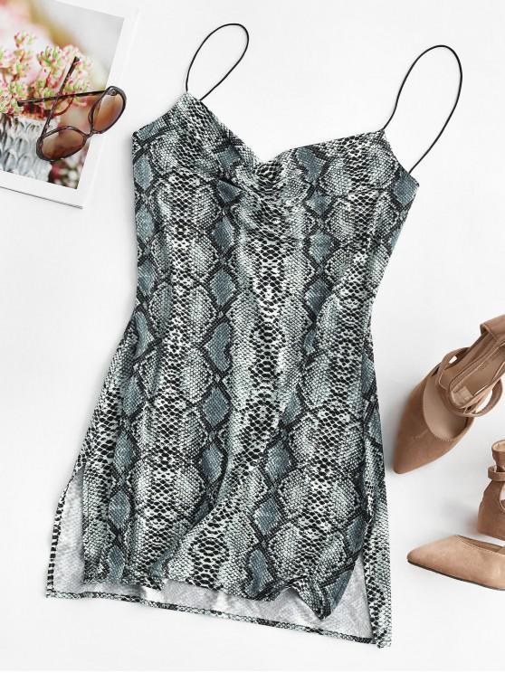 unique Snakeskin Leopard Print Slits Flared Cami Dress - MULTI-C S