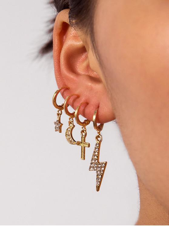 4顆十字月亮水鑽耳環套裝 - 金