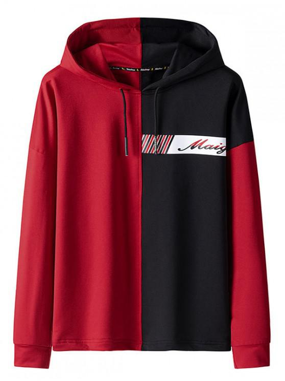 online Color Spliced Letter Printed Drawstring Hoodie - RED M
