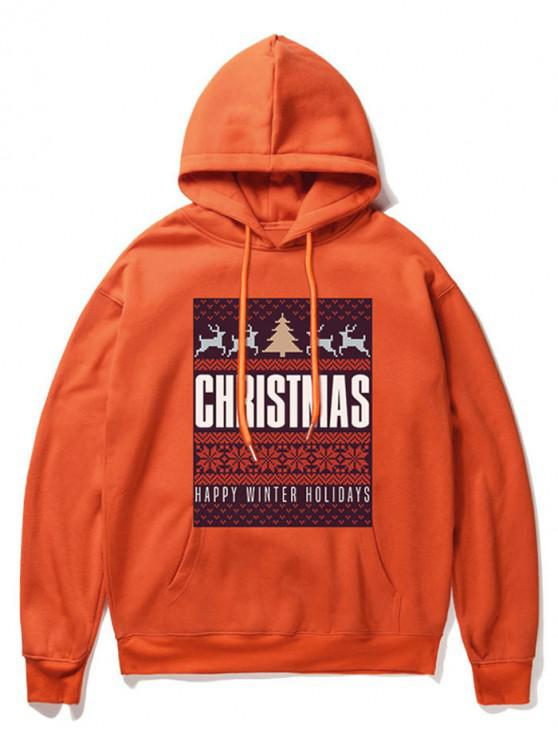 women Snowflake Letter Printed Christmas Hoodie - ORANGE XL