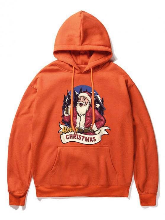fashion Christmas Santa Claus Print Hoodie - ORANGE XL