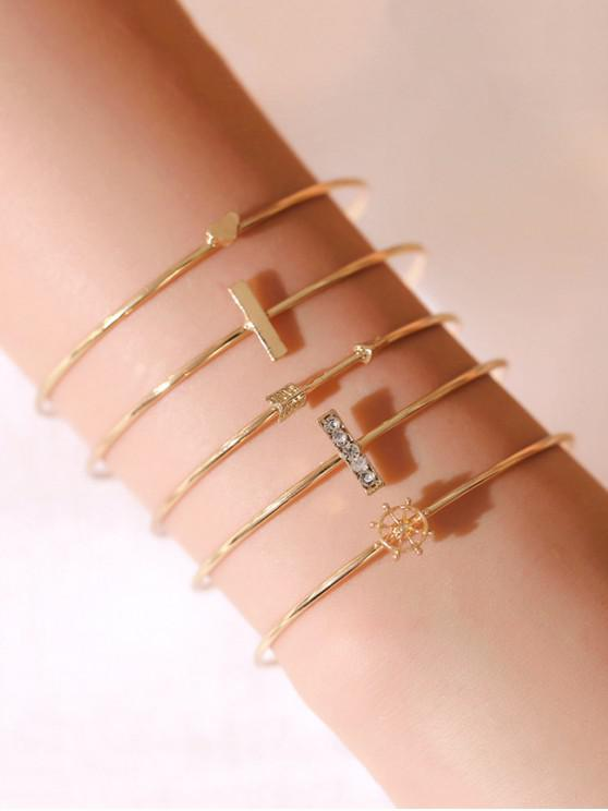 new 5Pcs Arrow Heart Cuff Bracelet Set - GOLD