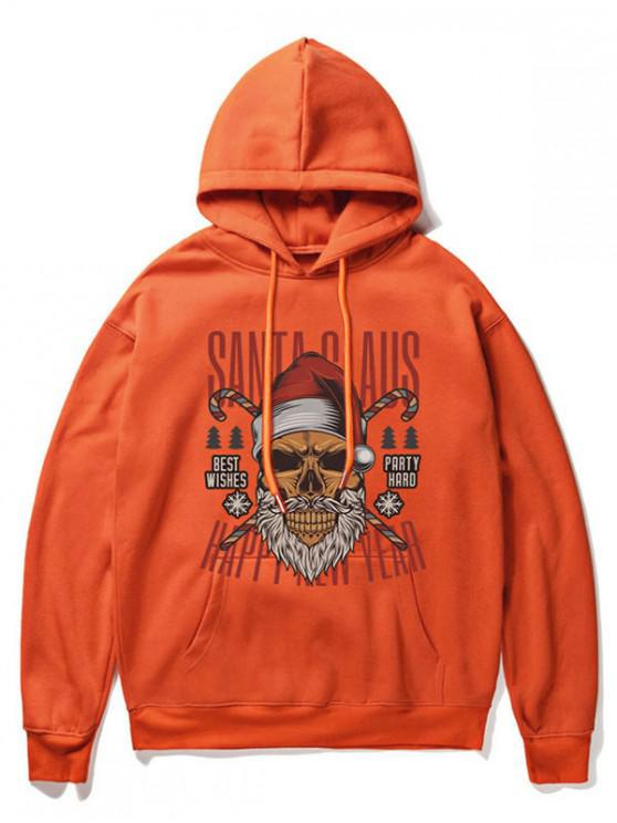 chic Cartoon Skull Print Casual Hoodie - ORANGE XL