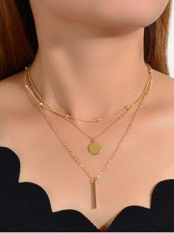 3pcs geométrico del collar colgante - Oro