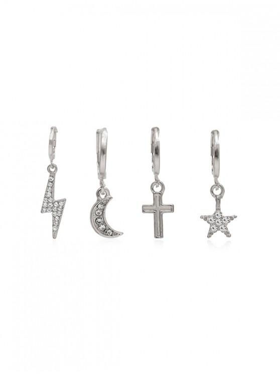 lady 4Pcs Cross Moon Rhinestone Earrings Set - SILVER