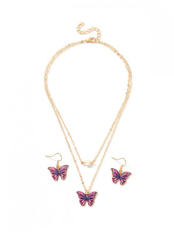 online Butterfly Layers Necklace Earrings Set - PURPLE