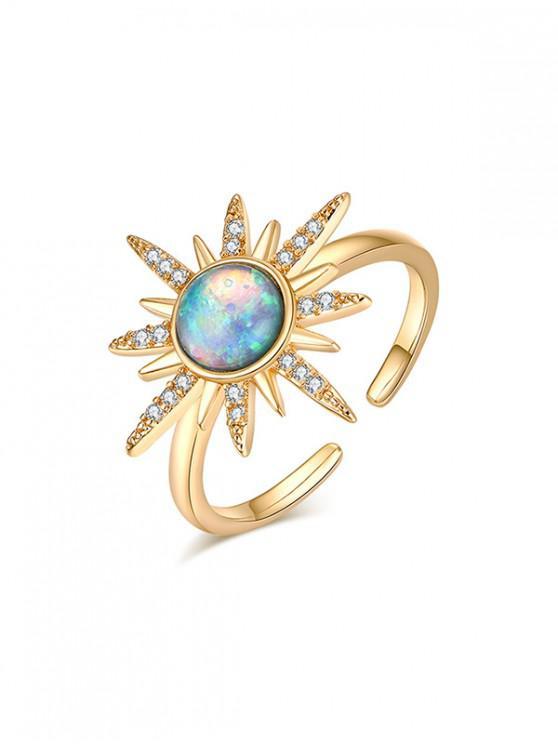 Anillo abierto étnica de la estrella del Rhinestone - Multicolor-A Regular