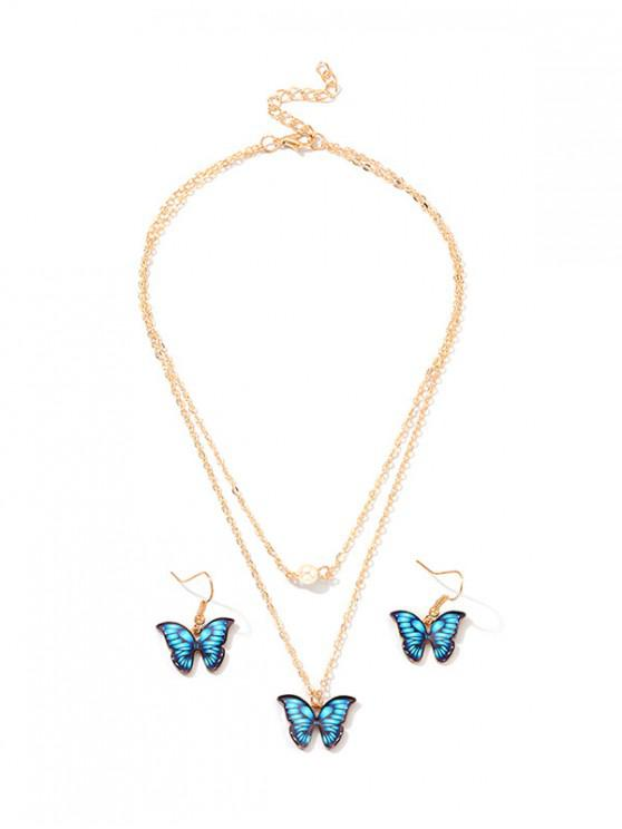 ladies Butterfly Layers Necklace Earrings Set - BLUE