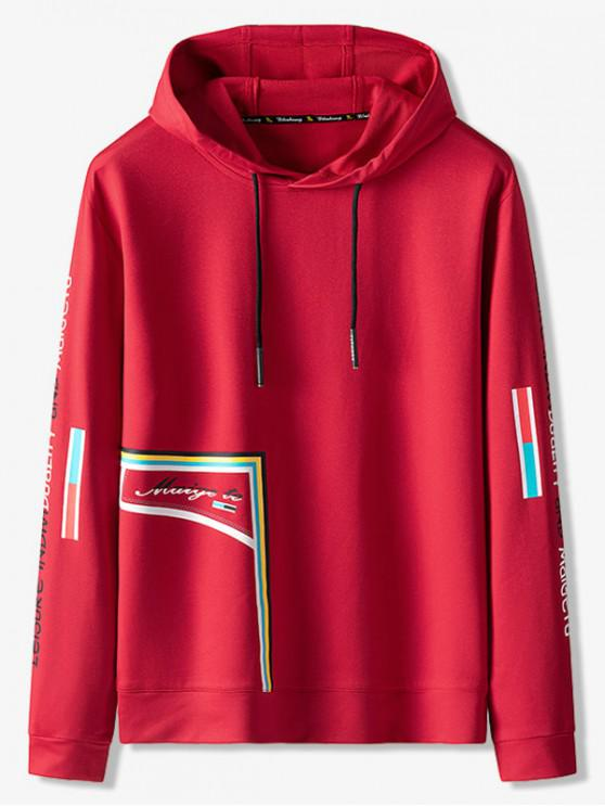outfit Letter Pattern Leisure Hoodie - RED S