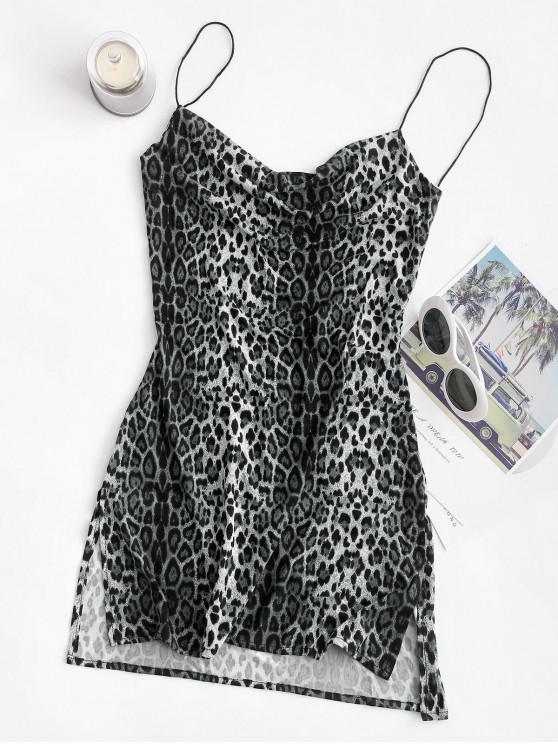 women Snakeskin Leopard Print Slits Flared Cami Dress - MULTI-D L