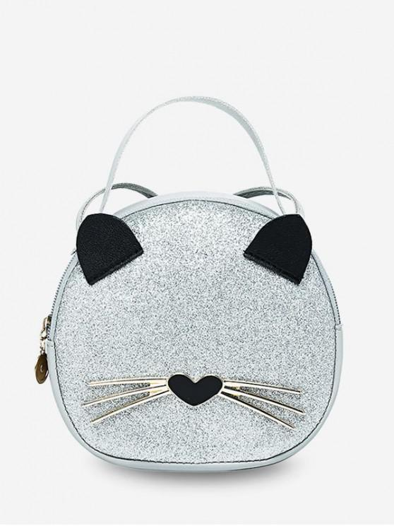 น่ารักจับแมวสูงสุดรอบกระเป๋า Crossbody - นมขาว