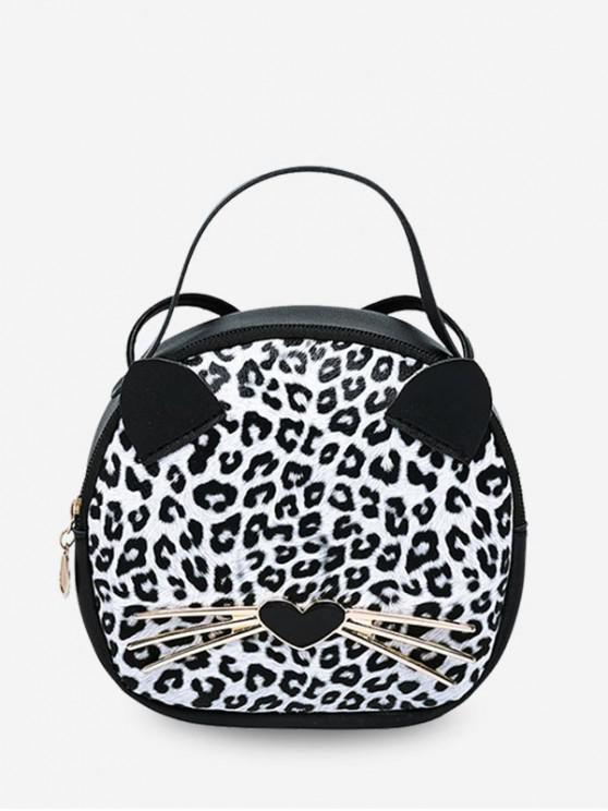 womens Cute Cat Top Handle Round Crossbody Bag - NATURAL WHITE