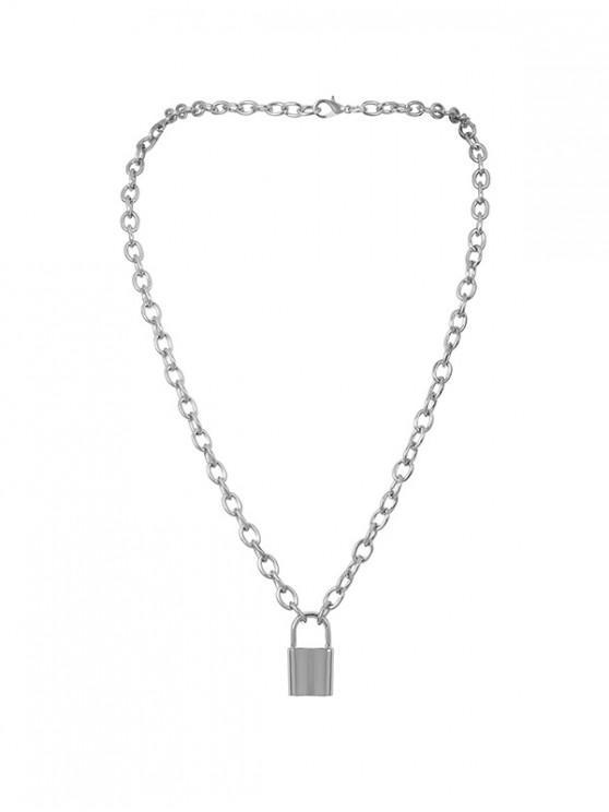 women Pendant Link Chain Lock Necklace - SILVER