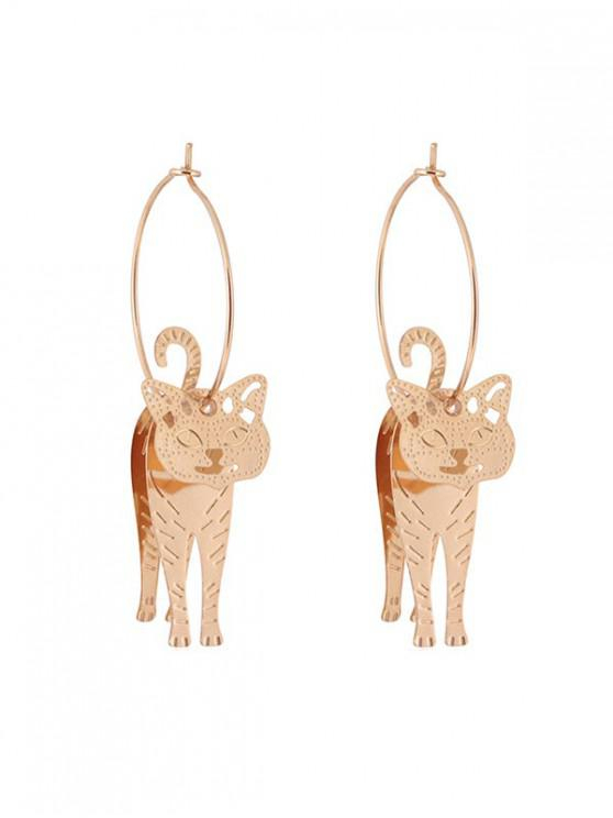ladies 3D Kitten Hoop Drop Earrings - GOLD