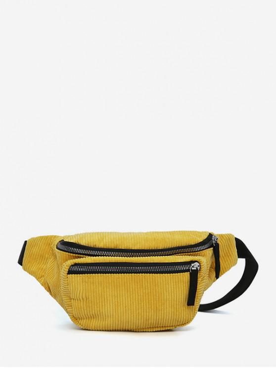 best Plain Corduroy Causal Waist Bag - SUN YELLOW